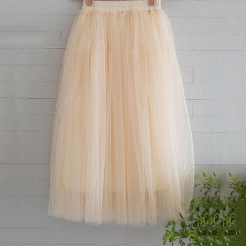 New Arrivals Tulle Skirts Womens 2016 Summer Fashion High Waist Long Skirt Elastic Waist Sun Fluffy Tutu Skirt Jupe Longue Femme