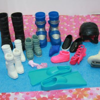 Barbie Doll Shoes and Other Doll Boots Helmet  Mixed Lot Toys