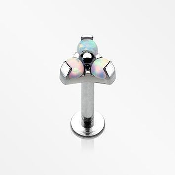 Trinity Fire Opal Sparkle Internally Threaded Steel Labret