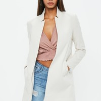 Missguided - White Notch Collar Formal Coat