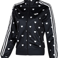 """Adidas"" Women Sports Casual Heart-shaped Pattern Print Long Sleeve Zip Bodycon Jacket Coat"