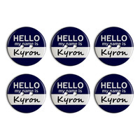 Kyron Hello My Name Is Plastic Resin Button Set of 6