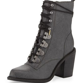 Mara Leather High-Heel Combat Boot, Black