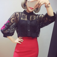 Fashion sexy rose  embroidered with a lace blouse  lantern sleeve black