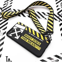 Off White New fashion letter stripe arrow print couple protective cover phone case Black