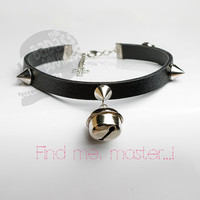 Kitty bell spike black faux leather collar, choker, necklace. Cosplay, cat lover, halloween outfit.