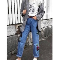 Blue Floral Embroidery Zipper Pockets Wide Leg Casual Long Jeans