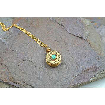 Brass Bullet Necklace with Green Opal
