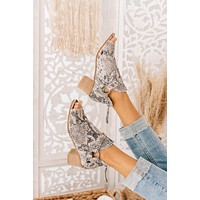 Totally Fearless Open Toe Canvas Booties (White)