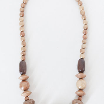 Vintage 80s Necklace / 1980s Chunky Geometric Wood Bead Necklace