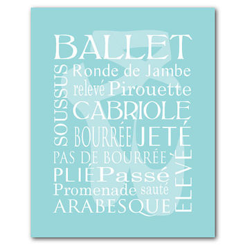 Dance Wall Art - Ballet Terms - Typography Art - Teen or Tween Girl's Room Decor - Word Art Ballet Shoe Silhouette - Pointe Shoe Silhouette