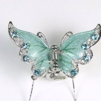 Dreamy Butterfly - Silky Hair Clip / Claw for Girls & Woman - Blue / Green