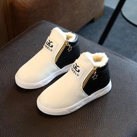 New Leather child shoes boys girls slip-resistant snow martin boots male female cotton-padded sport shoes sneakers