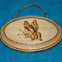 Decorative Wood Plaque Wood Burned Plaque Wooden Sign Wood Wall Hanging Butterfly Unique Gift