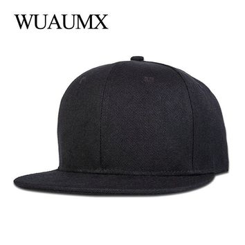 Trendy Winter Jacket Wuaumx Brand Hip Hop Hats Snapback Caps For Men Women High Quality Cotton Solid Color Baseball Cap Flat Brim Adjustable 10 style AT_92_12