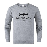 Balenciaga New fashion letter print long sleeve top sweater Gray