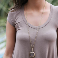 In The Distance Magnifying Long Chain Necklace With Glass Pendant