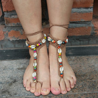 Handmade Multicolor Shell Anklet Bracelet Crochet Barefoot Sandals Handmade Foot Jewelry Accessory Gift-03