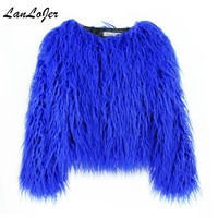 Women's Bomber imitation Mink Fur coat wool Long Hair jacket Faux Fox Fur Coat short High Waist Trench Coats Outwear
