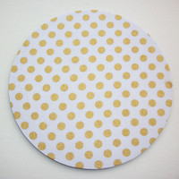 Mouse Pad mousepad / Mat  round or rectangle - Shiny gold polka dots on white - Computer Accessories Custom Desk Coworker Gifts Office Gifts