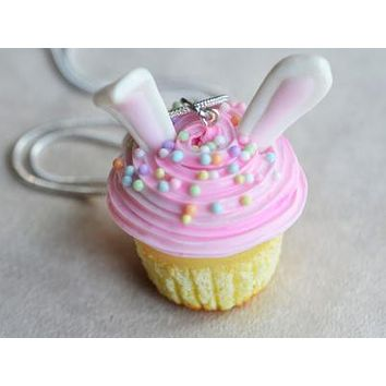 Bunny Ears Easter Cupcake Necklace
