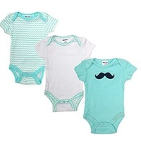 """Teeny Tots Baby Boys' """"Baby Moustache"""" 3-Pack Bodysuits"""