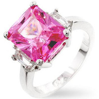 Pink Triplet Engagement Ring, size : 08