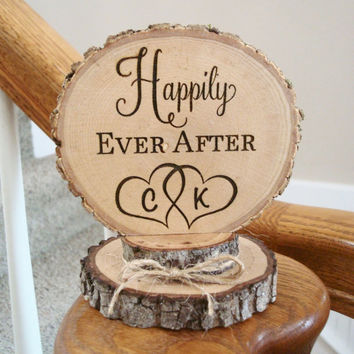 Happily Ever After, Wedding Cake Topper, Rustic Cake Top, Wood Topper, Barn Wedding, Rustic Wedding Decor, Rustic Wedding, Engraved Topper