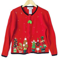Topiary and Christmas Gifts Tacky Ugly Sweater