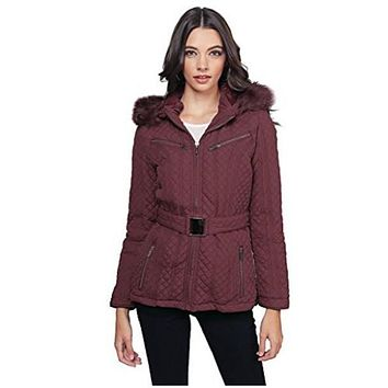 Womens Padded Detachable Hood Jacket Fur lining Jacket Wine Colored Size S