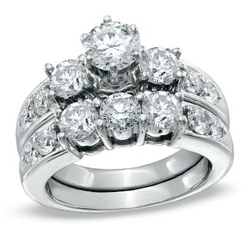 3 CT. Diamond Past Present Future Bridal Engagement Ring Set in 8K White Gold