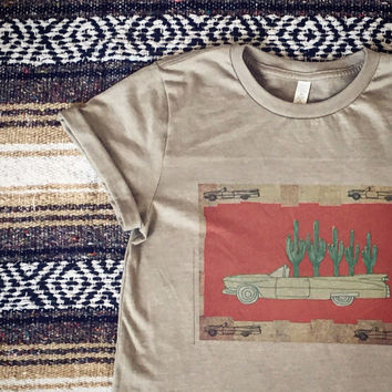Unisex Cactus Cadillac rolled sleeve tee grey 50/50 Soft 50s style desert artist drawn graphic tshirt   Classic Rock Couture