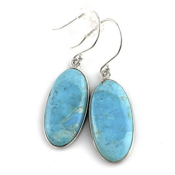 Blue Turquoise Sterling Silver Long Oval Earrings