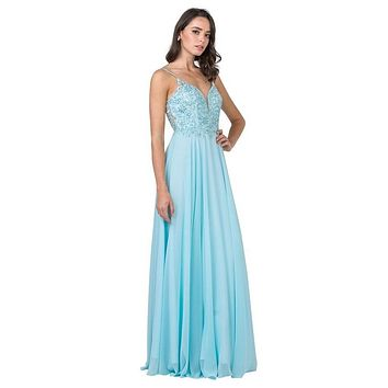 A-Line Long Formal Dress with Beads and Appliques Ice Blue
