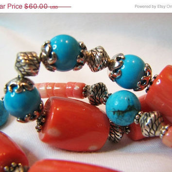 CIJ SALE Chunky coral and turquoise necklace Antique silver Big bold beads Heishi beads Colorful Southwestern beaded jewelry