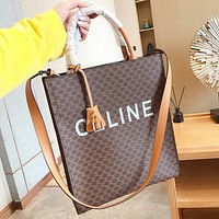 CELINE New fashion letter print leather handbag shoulder bag crossbody bag
