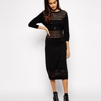 ASOS Midi Dress In Knit With Mesh Panels