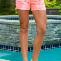 My Bad Distressed Shorts-Neon Coral