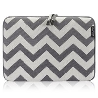 """Runetz - 13-inch Chevron Gray Soft Sleeve Case Cover for MacBook Pro 13.3"""" with or w/out Retina Display and MacBook Air 13"""" Laptop Gabbro Collection - Chevron Gray"""