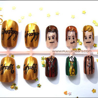 Lord of The Rings Hobbit Character False Nail Set - Frodo, Sam, Merry, Pippin and Ring