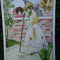 Mistress Mary and her Garden-18x24 inches-Vintage Image