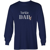 Yorkie Puppy Dad Long Sleeve Blue Unisex Tshirt Adult Small BB5240-LS-NAVY-S