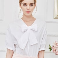 White Bowknot Front Short Sleeve Blouse