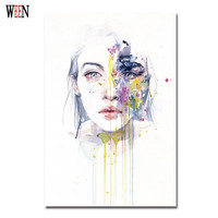 1Pc Elegant Girl Pictures Watercolor Paintings Abstract Wall Art Beauty Canvas Print Poster Cuadros Decoracion Christmas Gift