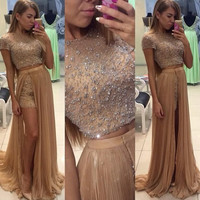 Two Piece Fashion Prom Dresses 2016 O Neck Short Sleeve Floor Length Crystal Tulle Long Evening Dress Vestido longo