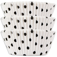 White with Black Polka Dot Baking Cups