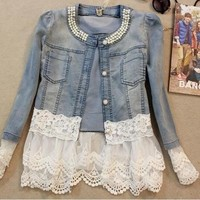Women Casual Denim Jacket Lace Long Sleeve Jacket Coat [8833481036]