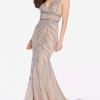 Alyce 60233 Fully Beaded Dress with Straps- Silver