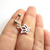Lotus Flower Cartilage Tragus Tiny Charm Bar Piercing Ring 16g 16 Gauge G Ga Zen Yoga Buddha Symbol Barbell