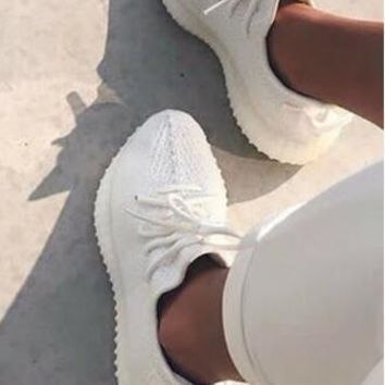 Adidas Yeezy 550 Boost 350 V2 Stylish Women Men Comfortable Sport Running Shoe Sneakers Pure White I